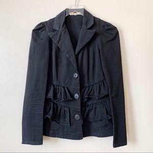 Prairie Underground Black Ruffle Buttoned Jacket
